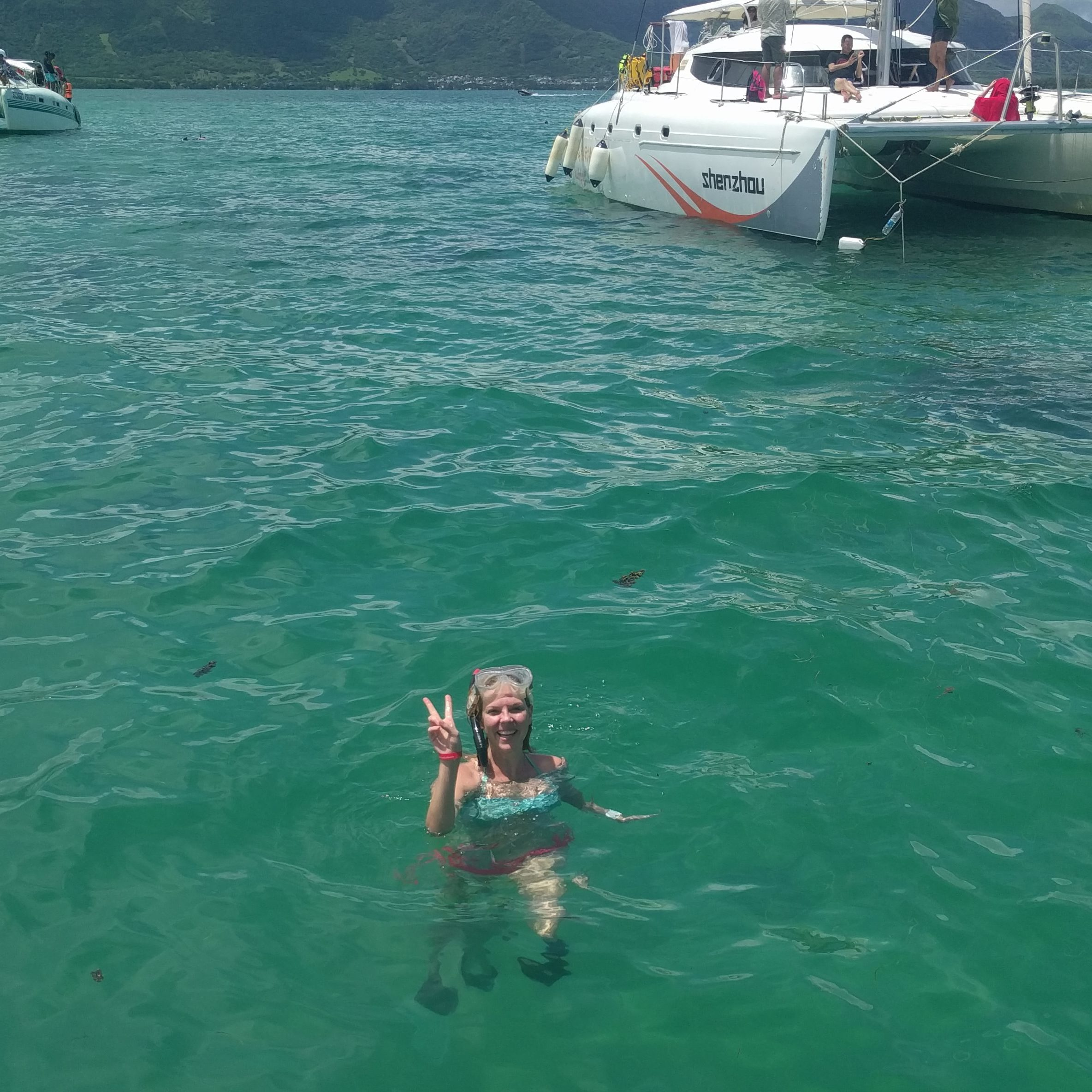 Dive off the boat and have a snorkel